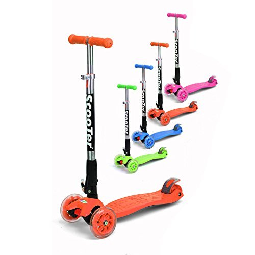 Preisvergleich Produktbild Fascol® Klappbar Kinderroller Scooter mit Kniepolster PVS Rollen mit ABEC-5 Kugellagern für Kinder 60kg Belastbar bis Gelb