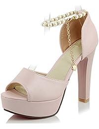 Aisun Damen Sexy Strass Metallic Kette Geschlossen Plateau Trichterabsatz Sandalen Pink 35 EU