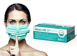 Medrull Medical Masks OP Vlies Mundschutz Maske 3-lagig 50 Stück Box Latexfrei