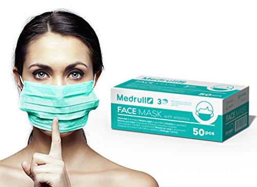 Medrull OP Vlies Mundschutz Maske 3-lagig 50 Stück Box Latexfrei