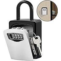Caja de Seguridad para Llaves, XBoze Montado en la Pared Clave Caja con Candado de 4 Dígitos Combinación de Bloqueo Exterior e Interior Seguridad llave Storage para Oficina de la escuela de Home (Plata)
