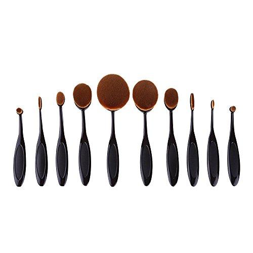 Contever® Pro Blush Poudre 10 PCS Poudre pour le visage Curve Foundation Brush (NOIR)