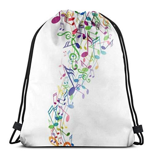 Bag hat Music Note 3D Print Drawstring Backpack Rucksack Shoulder Gym for Adult 16.9