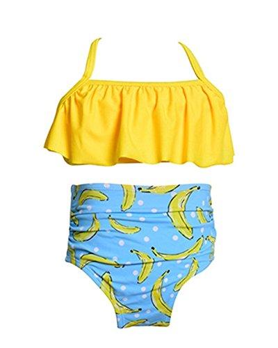 Kfnire Bikini-Sets, Mama und ich zusammen Badeanzüge Zwei Stücke Strand Bikini für Frauen Kind (Erwachsene M, Gelb)