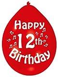 Amscan 22.8 cm 12. Geburtstag 10 Luftballons