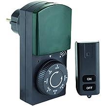 REV OUTDOOR FUNK-ZEITSCHALTUHR plus Fernbedienung | mechanische Tageszeit-Schaltuhr mit Countdown-Funktion | Schaltsteckdose für den Außenbereich IP 44 | mit Kinderschutz | Farbe: schwarz-grün