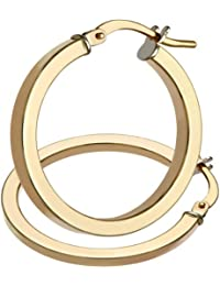 Citerna 9 ct Rose Gold Twist Square Tubed Hoop Earrings of 2 cm Diameter QKBvAGIVQ
