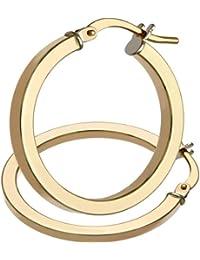 Citerna 9 ct Rose Gold Twist Square Tubed Hoop Earrings of 2 cm Diameter