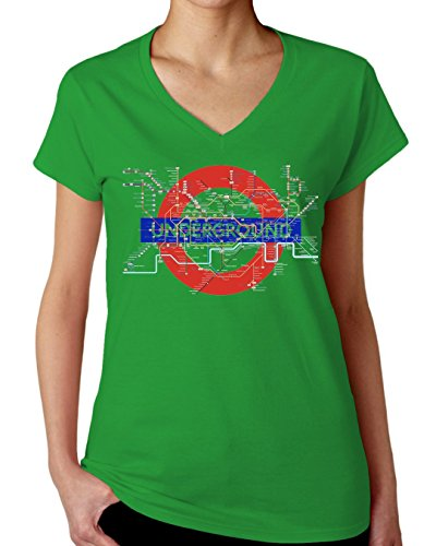 London Underground Map Women's V-Neck T-Shirt X-Large