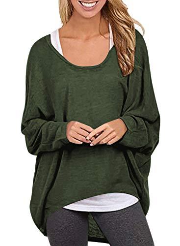Yidarton Frauen Asymmetrisch Langarm Pullover Pulli Strickjacke Oversized Baggy Lose Jumper T-Shirt Tops Bluse (XL, Z-Armee Grün)
