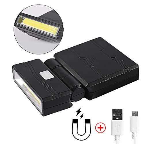 Fishnu LED-Kappen-Licht, wiederaufladbar über USB und magnetisch, Hard-Hut-Taschenlampen, 350 Lumen, 6 LEDs oder COB 5 W (Kopfband im Lieferumfang enthalten), schwarz, FS-209 4.20W, 4.20V - Schwarz Fs Usb