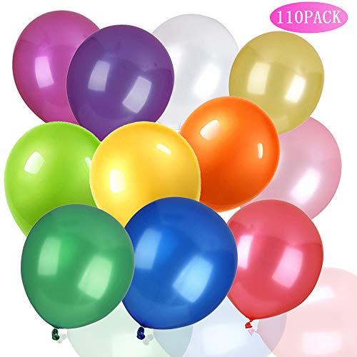 CKANDAY 110-Pack-Partyballons - Verschiedene 11 Farben Starke Latexballons für Helium oder Luft, Geburtstagsfeier, Hochzeit, Angebot, Jubiläums-Halloween, Erntedankfest, Weihnachten - 12 Zoll
