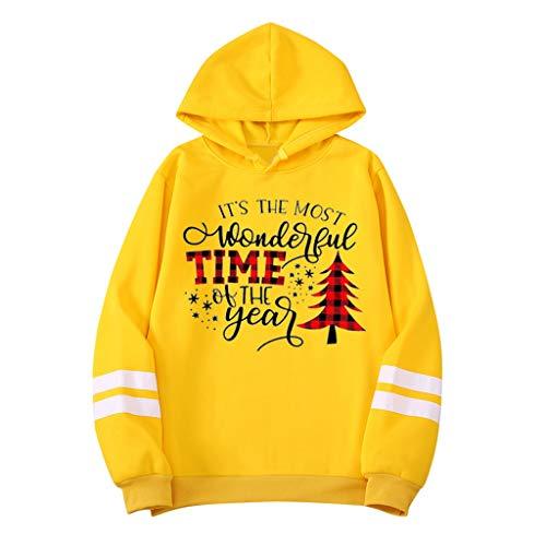 KPILP Herren Mode Kapuzenpullover Weihnachtspullover Sweatshirts Drucken Hoodie Unisex Lange Ärmel Pullover mit Kapuze Christmas Pullover mit Streifen