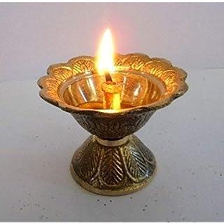 Artcollectibles India Brass Diya Deepak Akhand Jyot Kuber Hindu Temple Havan Puja Religious Oil Lamp