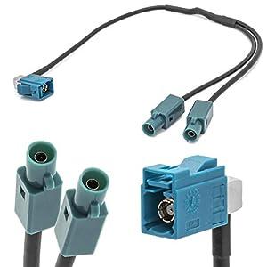 auf Einzel Stecker Auto Antennen Verteiler Adapter f/ür Universal Adapter-Universe FAKRA Doppel Buchse Z