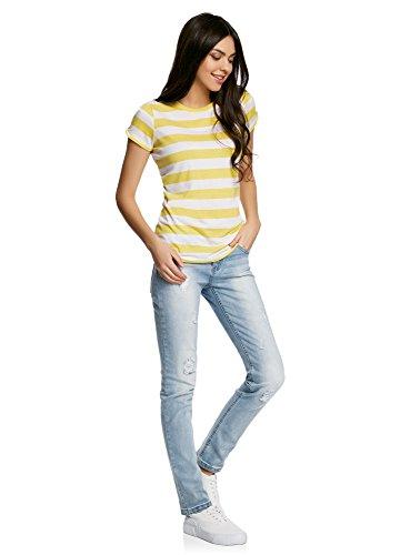 oodji Ultra Damen Gerades T-Shirt mit Schlitz auf Den Schultern Gelb (5210S)