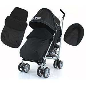 ZETA VOOOM - Black Complete with Raincover and Foot Muff Black   13