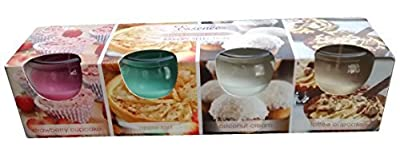 4 Pack Of New Bakery Selection Scented Glass Candles - Toffee Cupcake , Coconut Cream , Apple Tart , Strawberry Cupcake - Gift Set from Essence