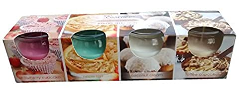 4 Pack Of New Bakery Selection Scented Glass Candles -