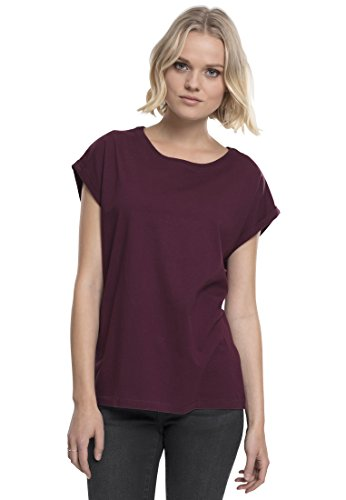 Urban Classics Damen T-Shirt Ladies Extended Shoulder Tee, Farbe cherry, Größe L