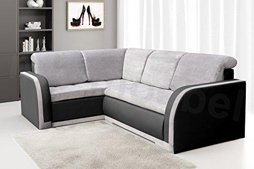 Ecksofa Sofa Eckcouch Couch mit Schlaffunktion und Bettkasten Ottomane L-Form Schlafsofa Bettsofa Polstergarnitur - VERO III (Ecksofa Links, Hellgrau +...