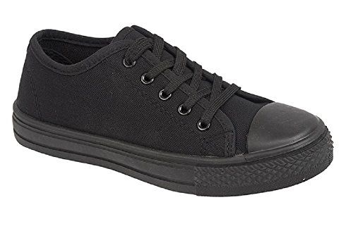 Lora Dora Boys Girls Kids Flat Lace Up Canvas Pumps Plimsoles Trainers Womens Childrens Sports Shoes Size UK 6-5 (UK 4, All Black)