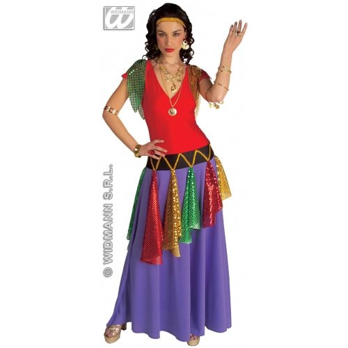 Ladies Gipsy Queen Multicolour Costume Small UK 8-10 for Medieval Royalty Fancy Dress