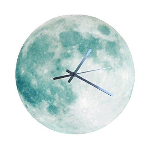 Relojes de pared Sannysis Despertadores electrónicos reloj Luna luminosa 3D (Verde)
