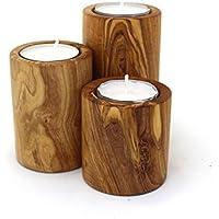 Teelichthalter im 3er Set aus Holz | Teelichthalter aus Olivenholz | Windlicht Deko aus Holz | Wellness Teelichthalter | Yoga Meditation Teelichthalter