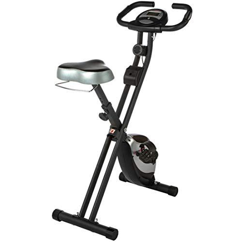 Ultrasport F-Bike Heavy, Fahrradtrainer, Heimtrainer, Fitnessfahrrad mit Trainingscomputer und Handpulssensoren, klappbar, Schwarz/Silber