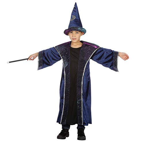 Zauberer Zaubererkostüm Magier Hexer Zauber Karneval Fasching Kinder 104-152 Blau 104 (3-4 (Hexer Kostüm Kinder)