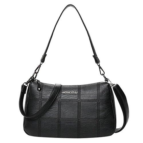 Frauen Shopper Tasche, Huihong Damen UmhäNgetasche Leder Totetasche Handtasche Schultertasche FüR Den Einkauf / Business / Arbeit / Reisen / Schule (Schwarz) (Clutch Gesteppte Wallet)