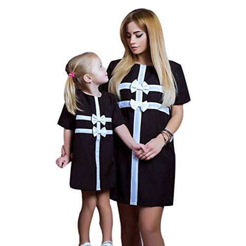 Mutter Tochter Kostüme Lustige (Xmansky Familie ausgestattet Mama und Tochter Brief T-Shirt Kleid Freizeit Tops (M,)