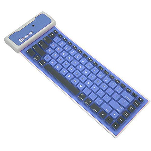 Mini Bewegliche wasserdichte Faltbare Drahtlose Bluetooth-Silikon-Tastatur Für Tablette Oder Andere Handys DREI-System,Blau