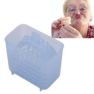 Gebiss-Bad-Kasten, 2Pcs falscher Zahn-Behälter mit Spülkorb-Prothesen-Reinigungs-Fall-Aufbewahrungsbehälter-zahnmedizinischer Fall für Sport-Zahn-Schutz