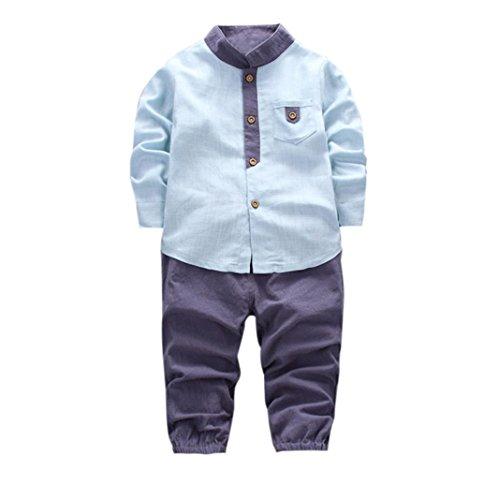 Bekleidung Longra Kleinkind Baby Kinder Jungen scherzt Langarm Hemd Tops Shirt+ Long Hosen Kinder Gentleman Kleidung Outfits Set (1-4Jahre) (80CM 1Jahre, Light Blue)