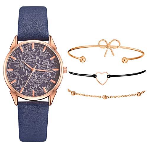 Armband Damen Uhr Set Anhänger Analog Quarzuhr mit PU Leder Schmuck Geschenk Set (D)