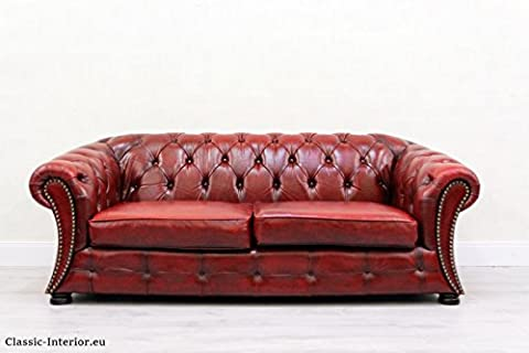 Chesterfield/Chippendale echt Leder Dreier Sofa