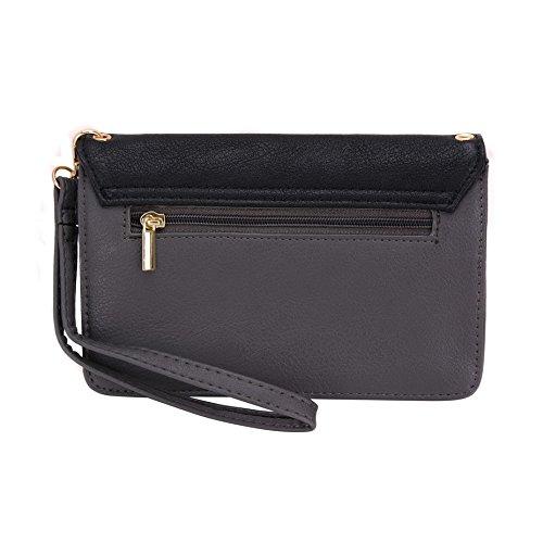 Conze da donna portafoglio tutto borsa con spallacci per Smart Phone per ONEPLUS ONE nero nero grigio
