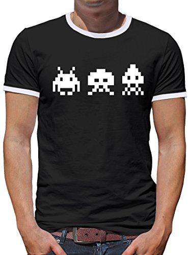 Kostüme Ball Z Dragon Gohan Halloween (TLM Retro Arcade Invaders Kontrast T-Shirt Herren XXXL)
