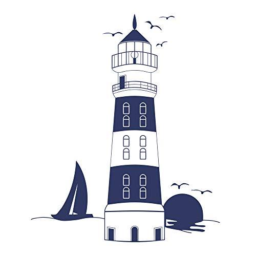 decalmile Blau Leuchtturm Wandaufkleber Sonnenuntergang Möwe Segelboot Entfernbar Wandtattoos Wandbilder für Wohnzimmer Schlafzimmer (Wandtattoo Möwen)