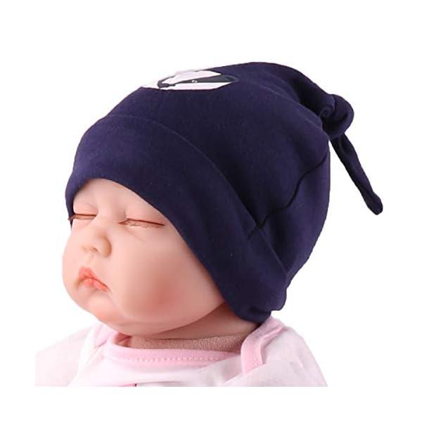 Snyemio Algodón Gorra para Bebé Beanie Nudo Sombrero Recién Nacido Chicos Chicas Unisex 3 Ajustable 0-6 Meses 3