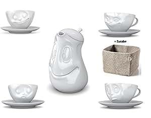5x Fiftyeight TV Tassen Kaffee Tasse Weiss (200ml) mit