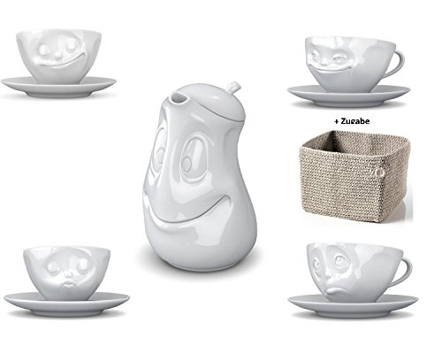 5x Fiftyeight TV Tassen Kaffee Tasse Weiss (200ml) mit Untertasse (Ø15cm) + Kanne mit Deckel 'Gut...