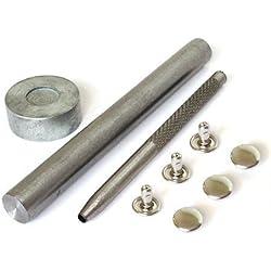 Lot de 100x 9mm Argent deux pièce double capuchon tubulaires rivets solide pour tissu et cuir Arts & Crafts réparation vêtements par Mariage