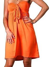Robe Angela Tube Bandeau à la Hauteur du Genou, Robe de Vacances, Orange, UK 28-30