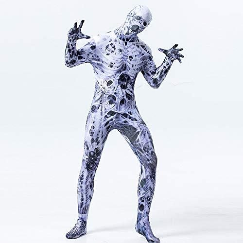 Erwachsenen Halloween Kostüm Cosplay Spider Skeleton Print Jumpsuit,Weiß,L (Skelett Unitard Kostüm)