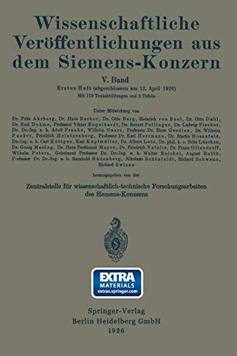 Wissenschaftliche Veröffentlichungen aus dem Siemens-Konzern: Fünfter Band 1926-1927