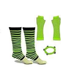 A-Express® Ladies Girls Neon Stripes Leg Warmers Long Fishnet Gloves Fancy Dress Tutu