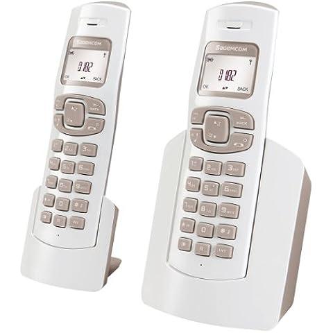 Sagemcom D17T DUO - Teléfono fijo analógico con 2 terminales (inalámbrico), blanco (importado)